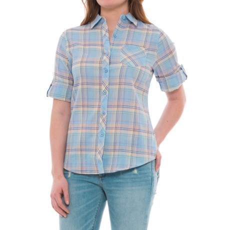 North River Crinkled Voile Shirt - 3/4 Sleeve (For Women) in Blue