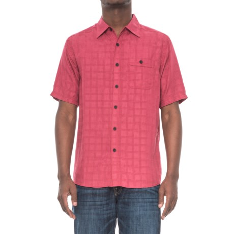 North River Dobby Weave Shirt - Short Sleeve (For Men) in Red