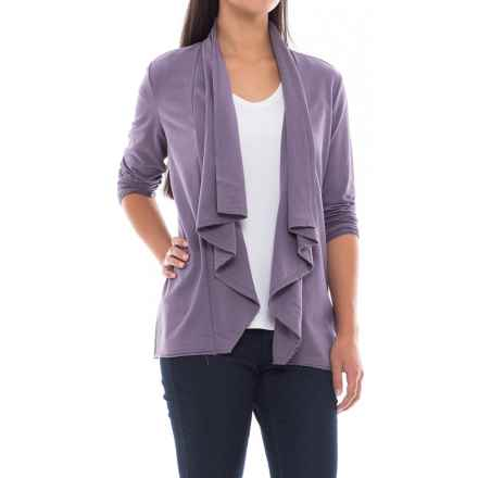 North River French Terry Flyaway Cardigan Shirt - Long Sleeve (For Women) in Mulled Grape - Closeouts