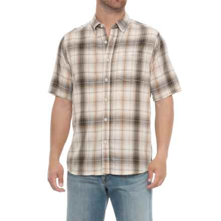 North River Herringbone Woven Shirt - Short Sleeve (For Men) in Khaki - Overstock