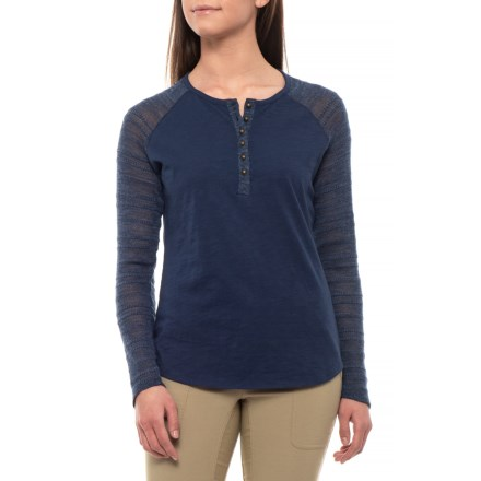 18e4e9391ac12 North River Lake Solid Slub Jersey Henley Shirt - Long Sleeve (For Women) in