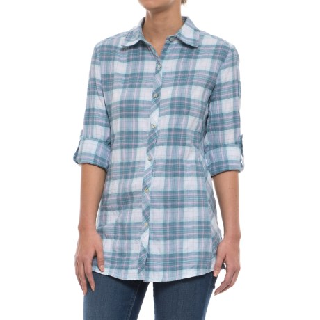 North River Plaid Pucker Herringbone Blouse - Long Sleeve (For Women) in Clearwater