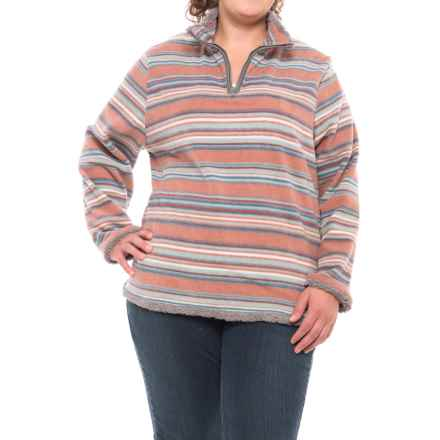 North River Polar Fleece Shirt - Zip Neck, Long Sleeve (For Plus Size Women) in Brandy Rose - Closeouts