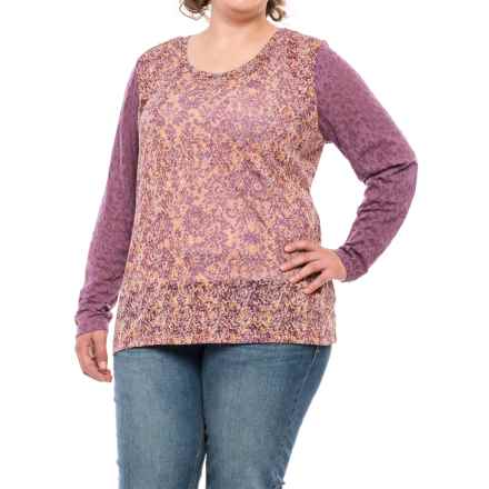 North River Print Burnout Shirt - Long Sleeve (For Women) in Berry Conserve - Closeouts