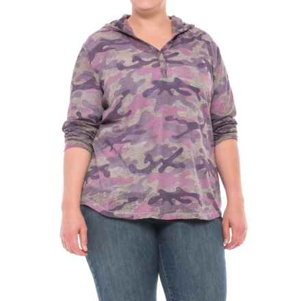 North River Print Burnout Waffle Hoodie (For Plus Size Women) in Zinc - Closeouts