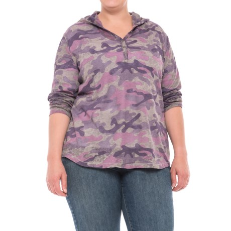 North River Print Burnout Waffle Hoodie (For Plus Size Women) in Zinc