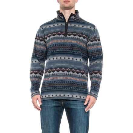 North River Print Mock Neck Fleece Shirt - Zip Neck, Long Sleeve (For Men) in Indigo - Closeouts