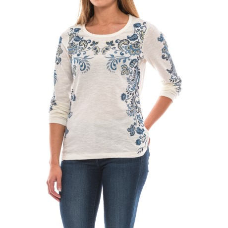 North River Print Slub Jersey Shirt - 3/4 Sleeve (For Women) in Soapstone