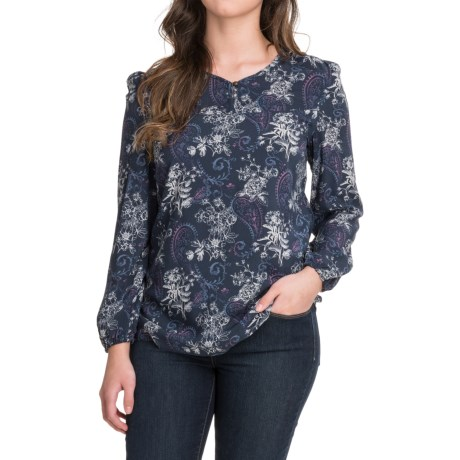 North River Print Viscose Woven Swing Shirt - Long Sleeve (For Women) in Indigo