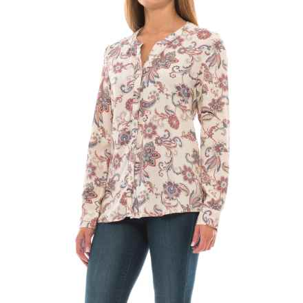 North River Print Woven High-Low Blouse - Long Sleeve (For Women) in Birch - Closeouts
