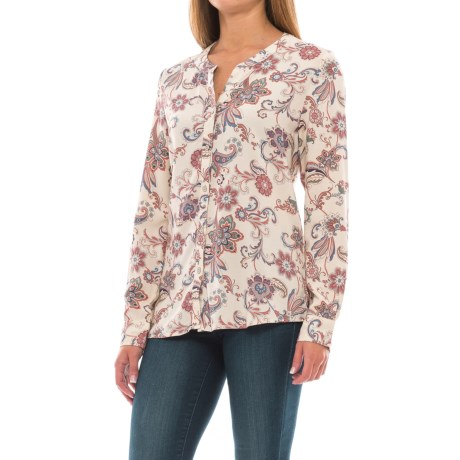 North River Print Woven High-Low Blouse - Long Sleeve (For Women) in Birch