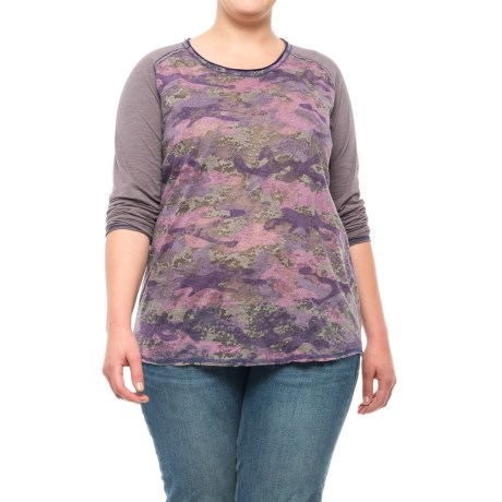 North River Printed Burnout Shirt - Semi-Sheer, Long Sleeve (For Plus Size Women) in Shark