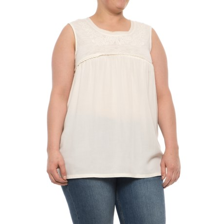 North River Raw Edge Jersey Trim Tank Top (For Plus Size Women) in Soapstone