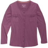North River Slub Jersey and Lace Shirt - Long Sleeve (For Plus Size Women)