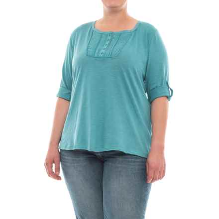 North River Slub Jersey Henley Shirt - 3/4 Sleeve (For Plus Size Women) in Larkspur - Closeouts