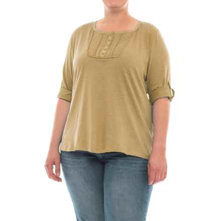 North River Slub Jersey Henley Shirt - 3/4 Sleeve (For Plus Size Women) in Sage - Closeouts