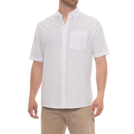 North River Solid Woven Seersucker Shirt - Short Sleeve (For Men) in White