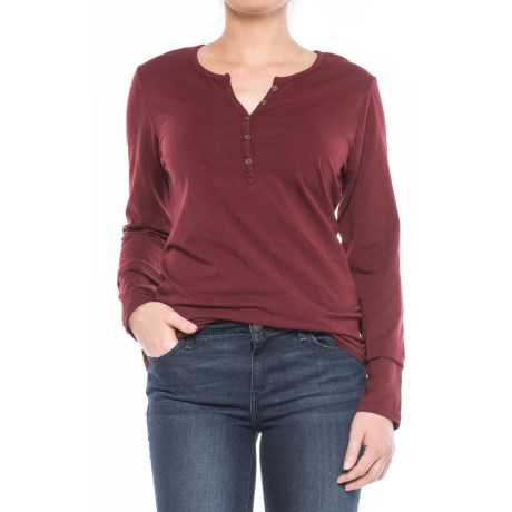 North River Stretch-Cotton Henley Shirt - Long Sleeve (For Women) in Zinfandel