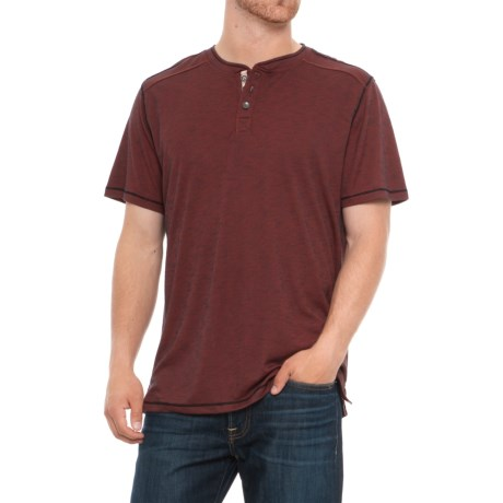 North River Textured Henley Shirt - Short Sleeve (For Men) in Red