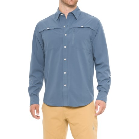North River Textured Utility Shirt - Long Sleeve (For Men) in Blue
