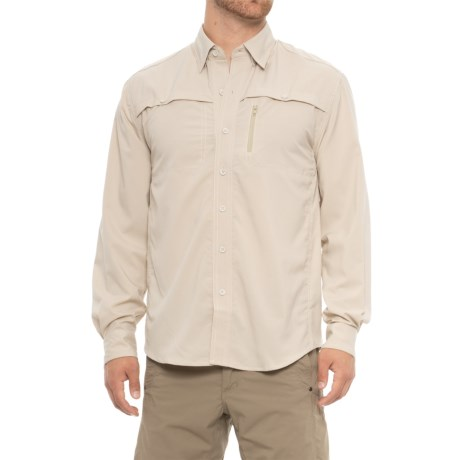 North River Textured Utility Shirt - Long Sleeve (For Men) in Khaki