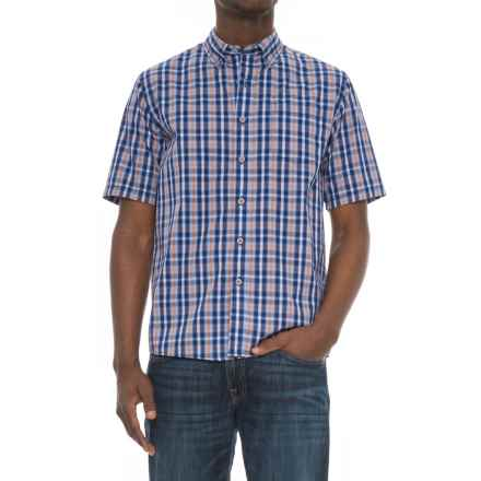 North River Woven Plaid Shirt - Short Sleeve (For Men) in Patriot Blue - Closeouts