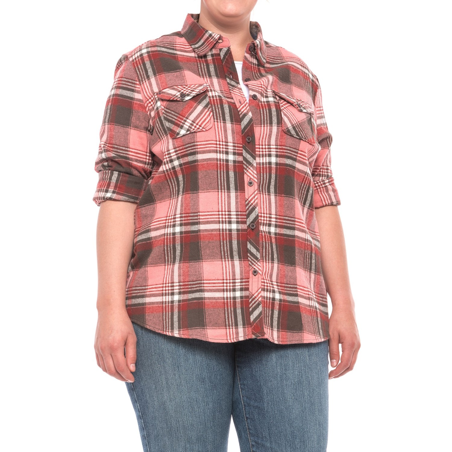 North river yarn dyed plaid flannel shirt for women and for Flannel checked long sleeve shirt