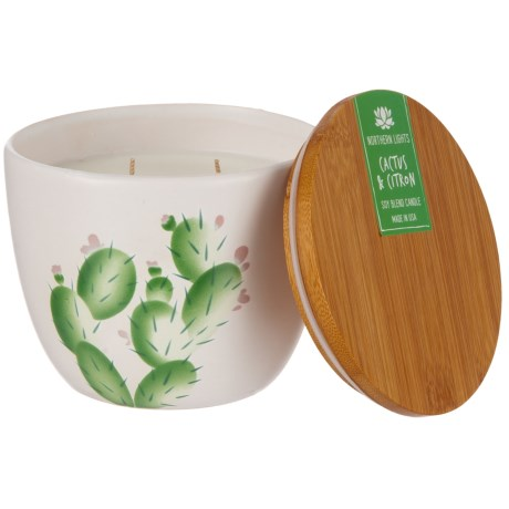 Northern Lights Cactus and Citron Cactus Bowl Candle - 2-Wick, Bamboo Lid, 20 oz. in White/Green
