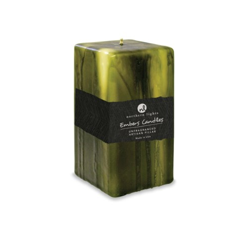 "Northern Lights Embers Artisan Pillar Candle - 2.5x6"" in Moss Green"