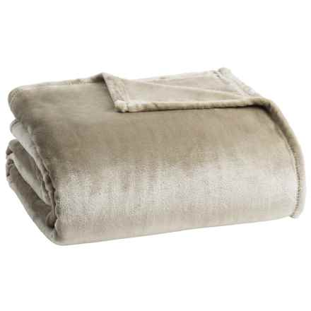 Northpoint Home Prose Solid Velvet Blanket - Full-Queen in Taupe - Closeouts