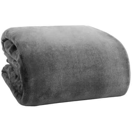Northpoint Home Solid Velvet Blanket - Full-Queen in Charcoal - Overstock