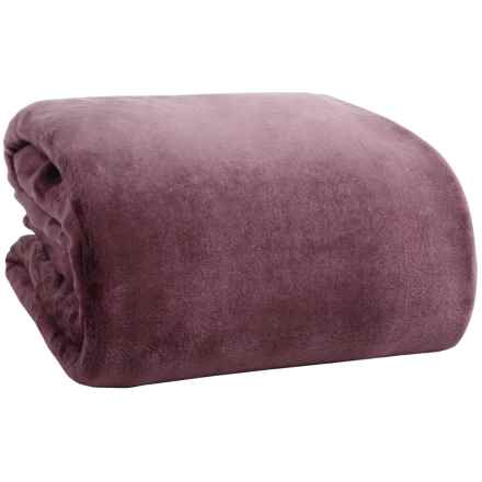 Northpoint Home Solid Velvet Blanket - Twin in Plum - Overstock