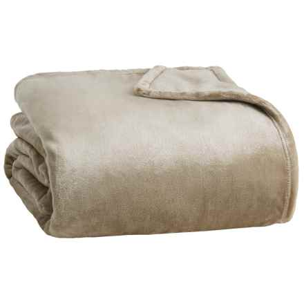 Northpoint Home Thesis Solid Velvet Blanket - Twin in Taupe - Closeouts