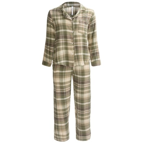Northwest Blue Flannel Pajamas - Lightweight, Long Sleeve (For Women) in Green