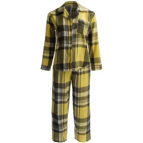 Northwest Blue Flannel Pajamas - Lightweight, Long Sleeve (For Women) in Yellow