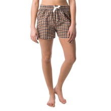 Northwest Blue Lounge Shorts - Lightweight Cotton (For Women) in Black/Orange/White Plaid - Closeouts