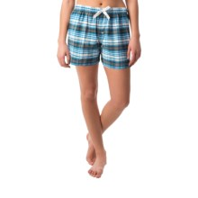 Northwest Blue Lounge Shorts - Lightweight Cotton (For Women) in Blue/Grey Plaid - Closeouts