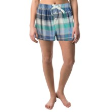 Northwest Blue Lounge Shorts - Lightweight Cotton (For Women) in Blue Plaid - Closeouts