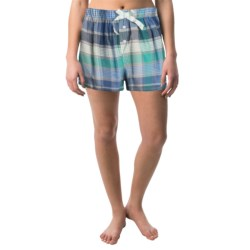 Northwest Blue Lounge Shorts - Lightweight Cotton (For Women) in Blue Plaid