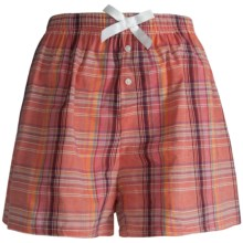 Northwest Blue Lounge Shorts - Lightweight Cotton (For Women) in Coral Plaid - Closeouts