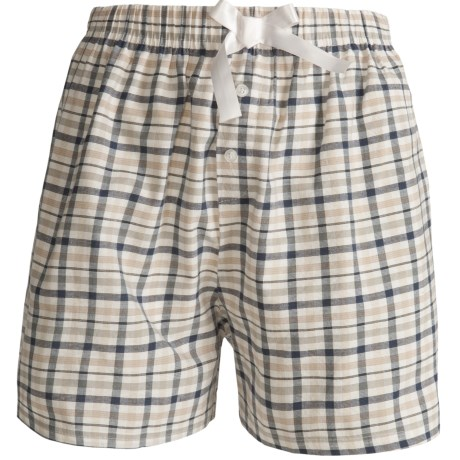 Northwest Blue Lounge Shorts - Lightweight Cotton (For Women) in Dark Blue Plaid