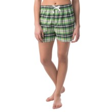 Northwest Blue Lounge Shorts - Lightweight Cotton (For Women) in Green/Grey Plaid - Closeouts