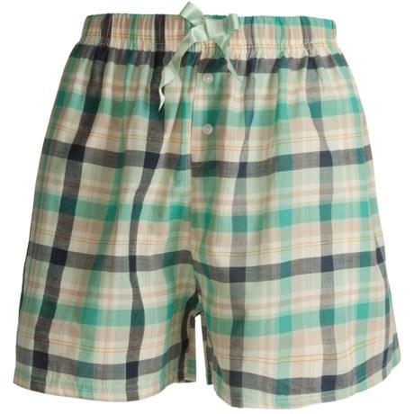 Northwest Blue Lounge Shorts - Lightweight Cotton (For Women) in Green Plaid