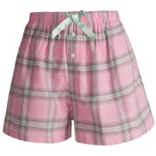 Northwest Blue Lounge Shorts - Lightweight Cotton (For Women) in Light Pink Plaid - Closeouts