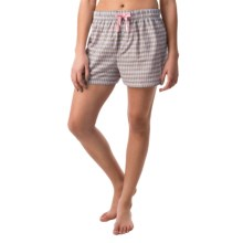 Northwest Blue Lounge Shorts - Lightweight Cotton (For Women) in Light Pink/Yellow/Multi Plaid - Closeouts