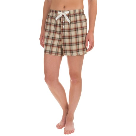 Northwest Blue Lounge Shorts - Lightweight Cotton (For Women) in Natural Plaid