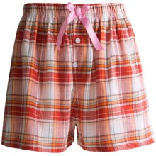 Northwest Blue Lounge Shorts - Lightweight Cotton (For Women) in Orange Plaid - Closeouts