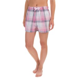 Northwest Blue Lounge Shorts - Lightweight Cotton (For Women) in Light Pink Plaid