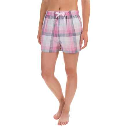 Northwest Blue Lounge Shorts - Lightweight Cotton (For Women) in Pink Plaid - Closeouts