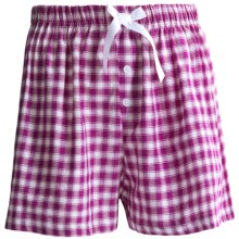 Northwest Blue Lounge Shorts - Lightweight Cotton (For Women) in Purple Plaid - Closeouts